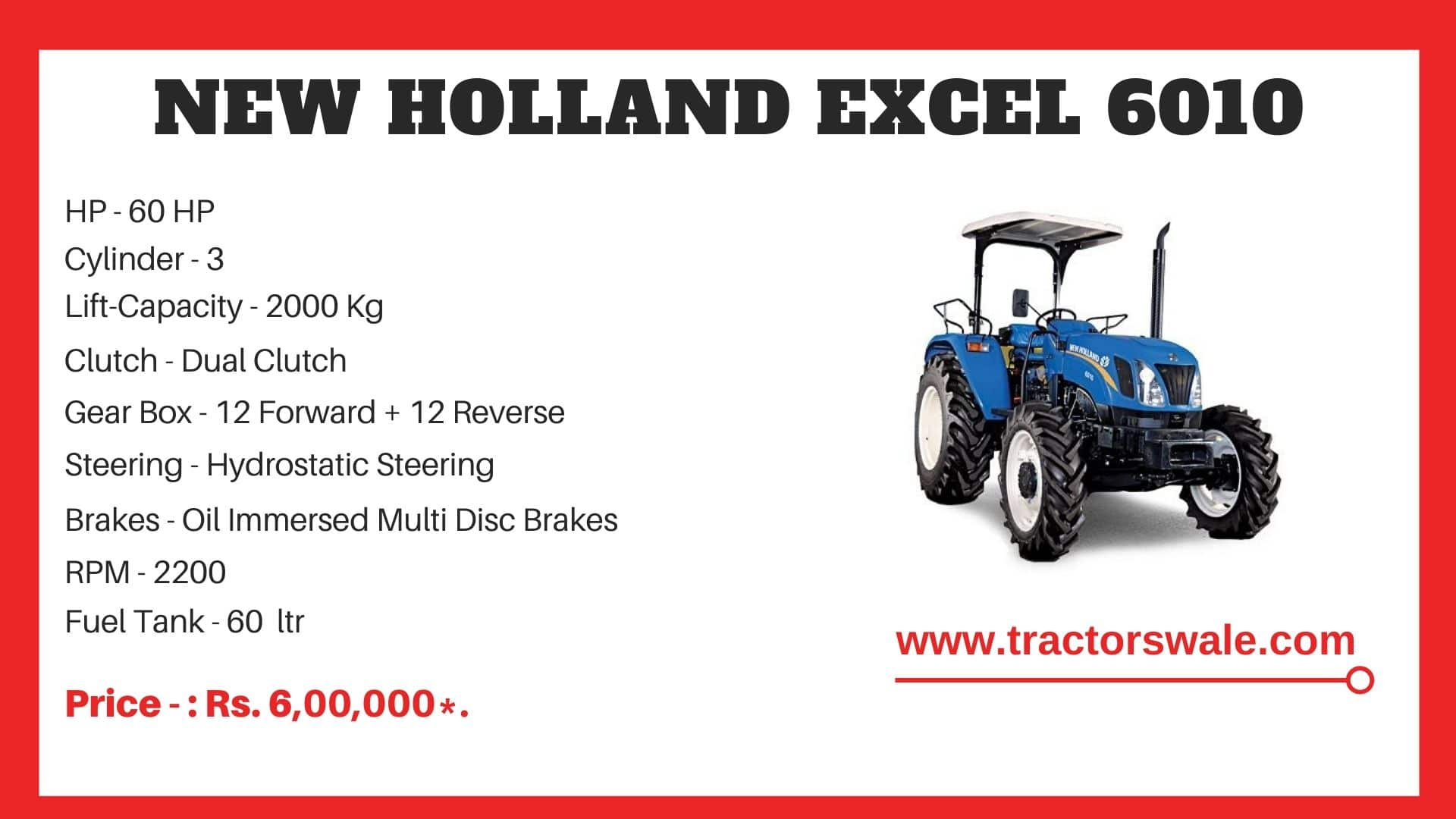 New Holland Excel 6010 tractor specs