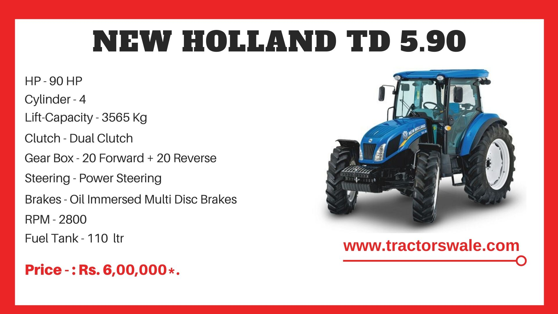 New Holland TD 5.90 tractor price