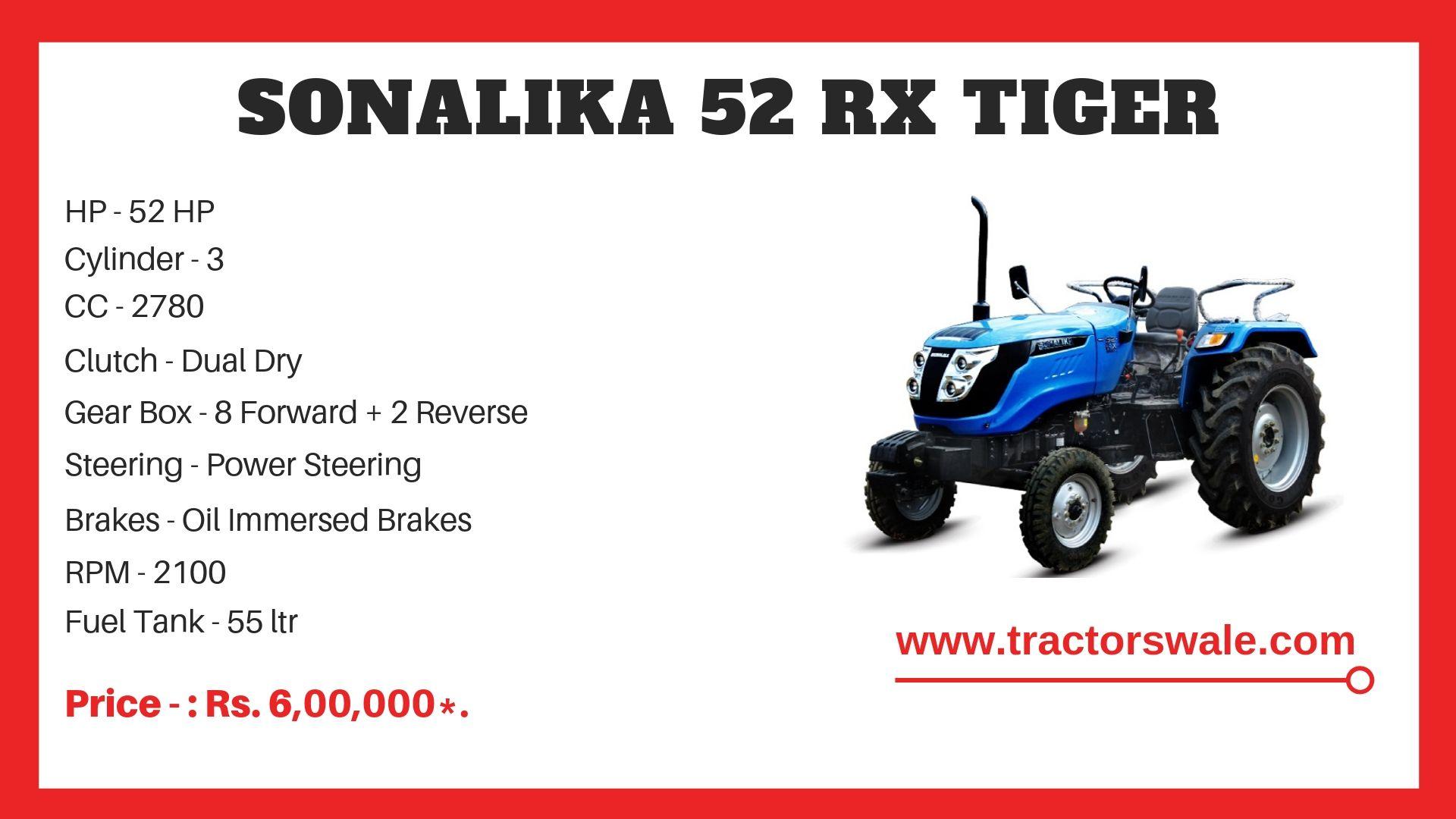 Sonalika 52 RX Tiger Tractor Price specs