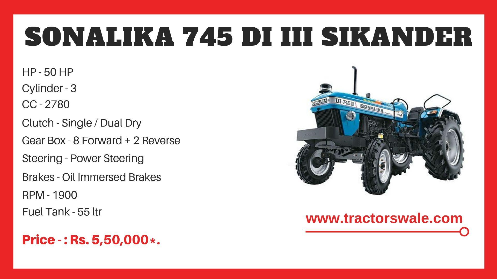 Sonalika 745 DI III SIKANDER Tractor specs