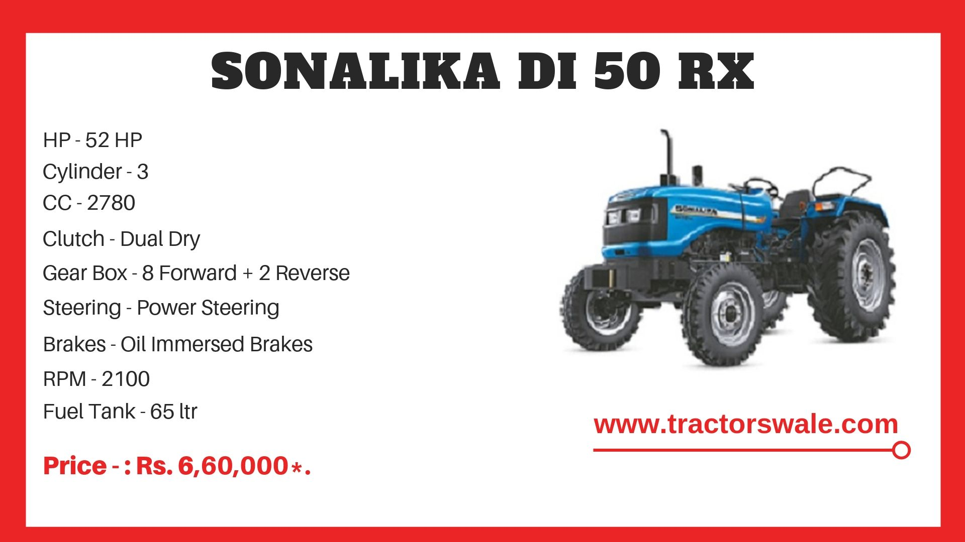 Sonalika DI 50 RX Tractor specificatrions