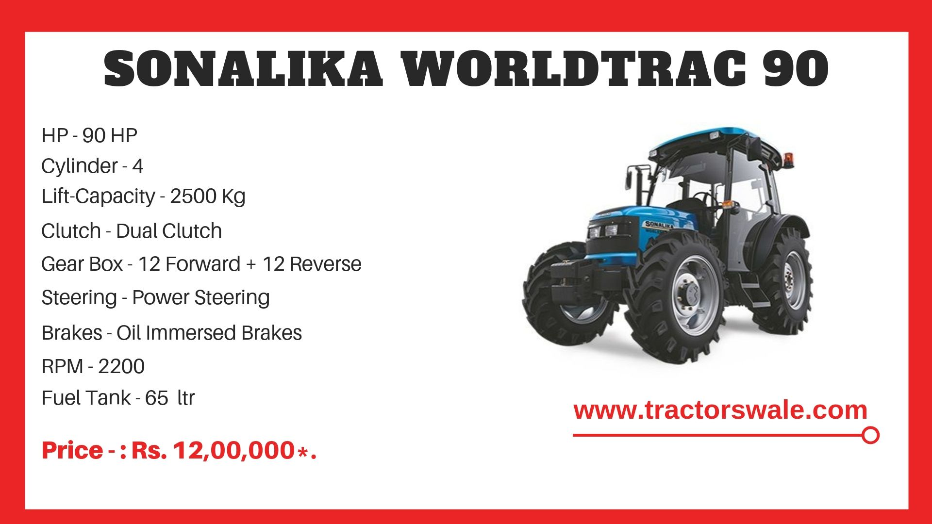 Sonalika Worldtrack 90 tractor price