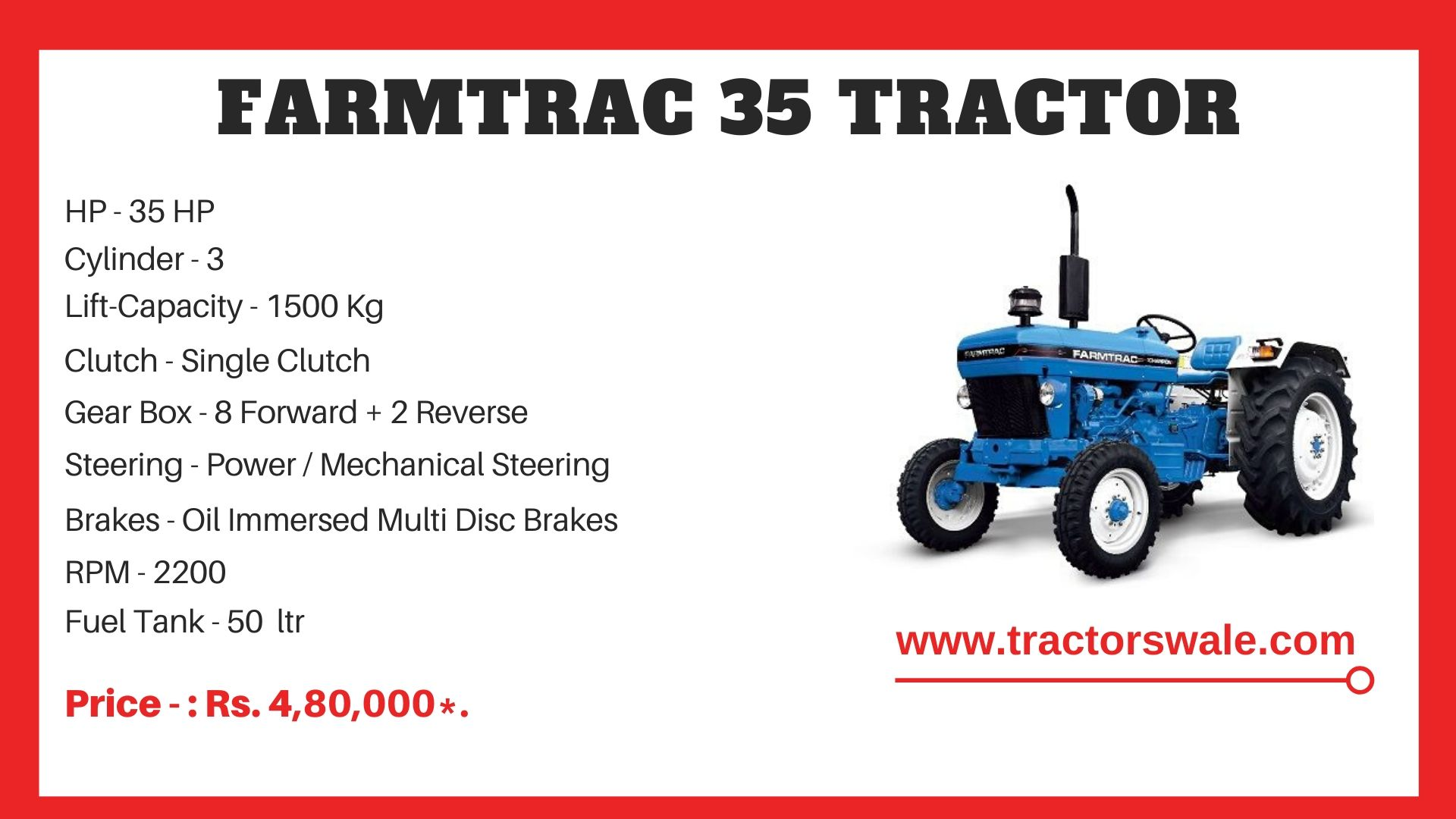 Farmtrac 35 Tractor price