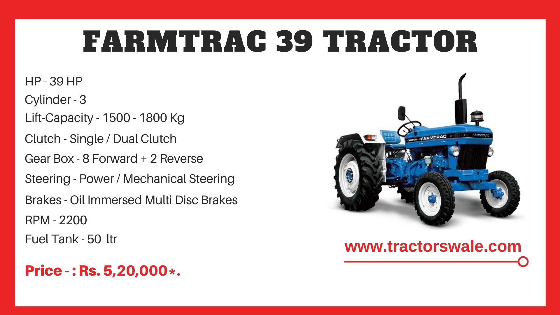Farmtrac 39 tractor price