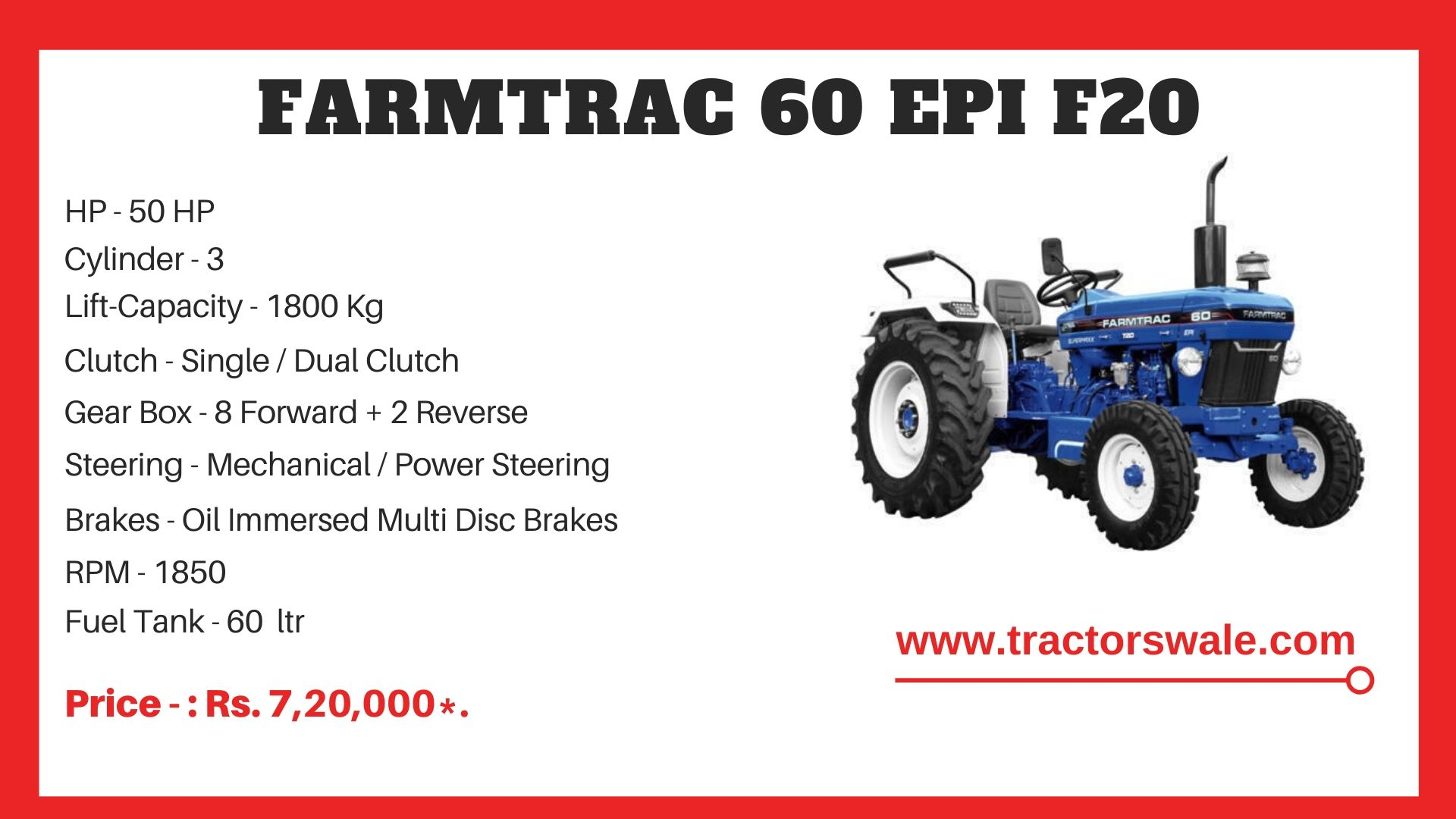 Farmtrac 60 F20 tractor price