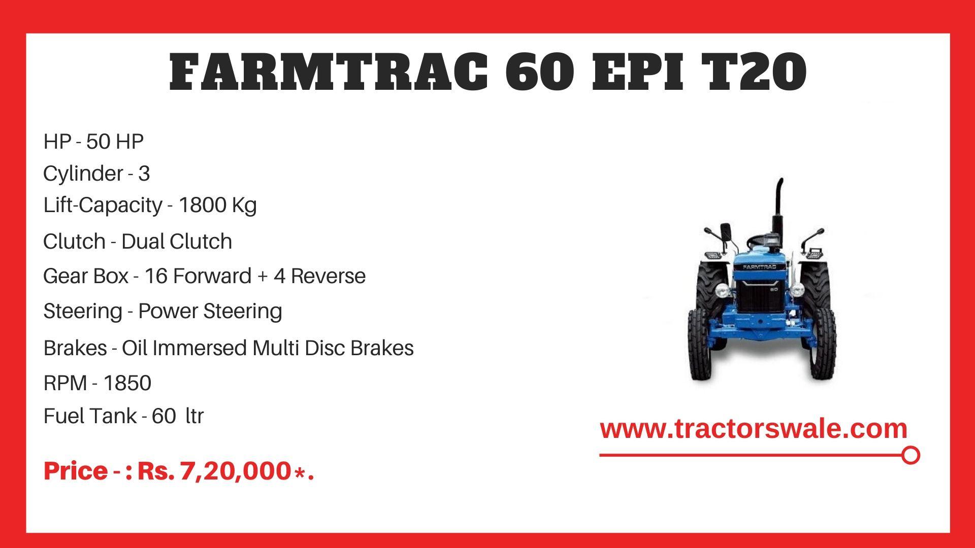 Farmtrac 60 t20 tractor price