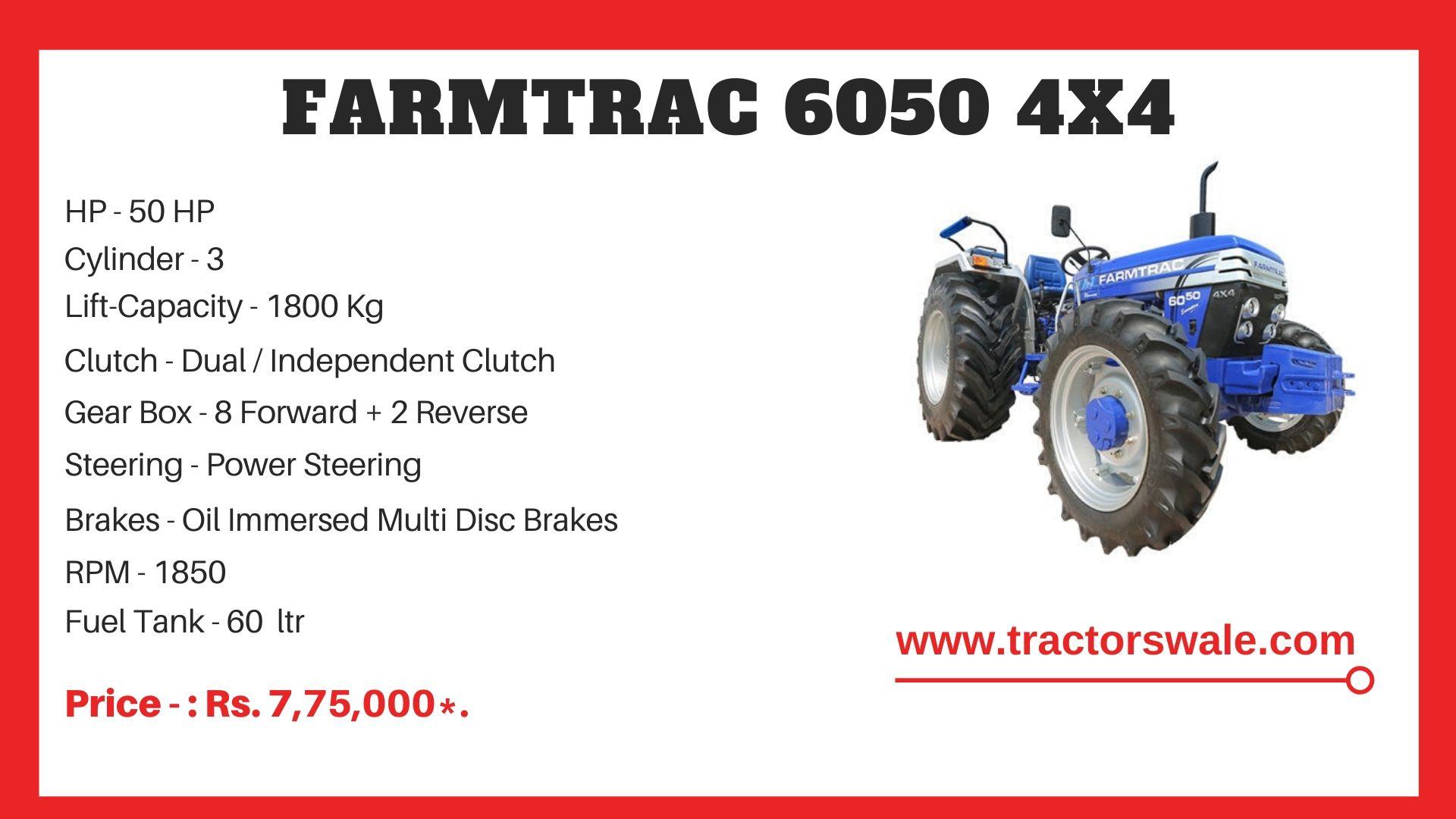 Farmtrac 6050 4X4 tractor price