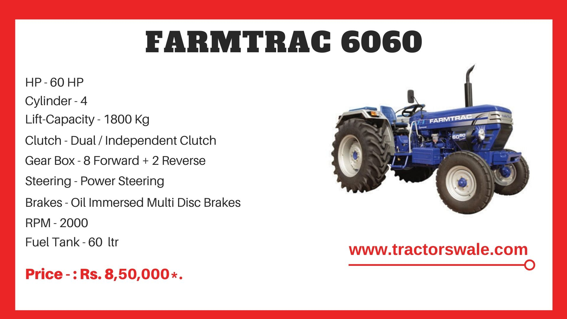 Farmtrac 6060 tractor price