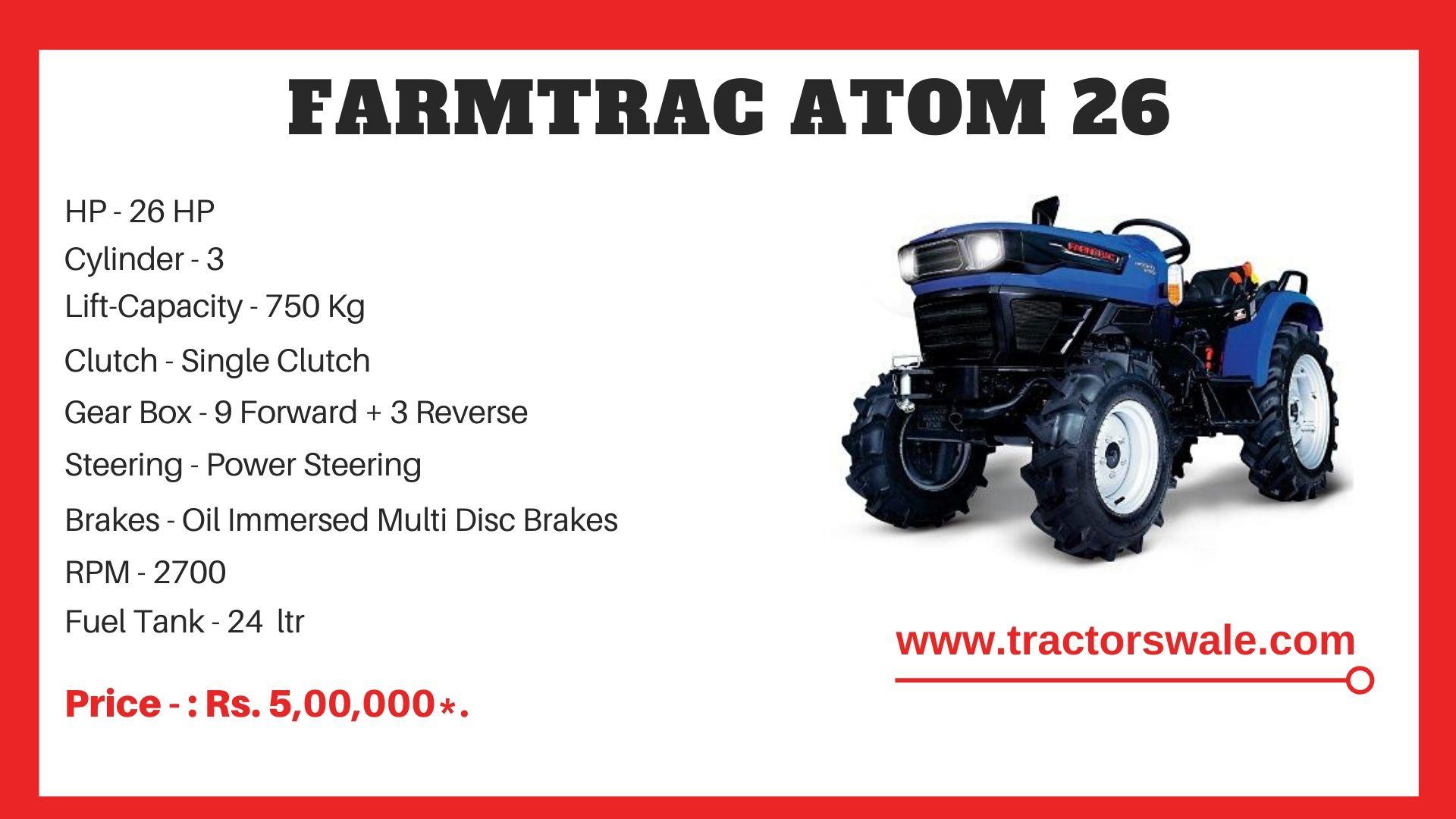 Farmtrac Atom 26 tractor price
