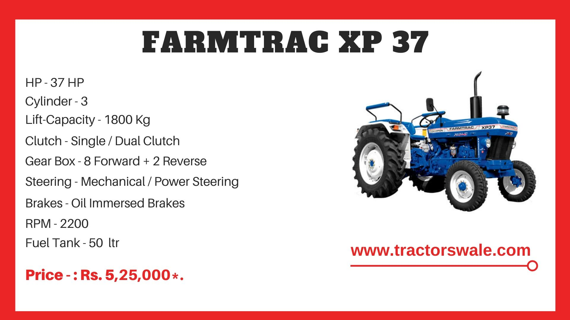 Farmtrac XP 37 tractor price