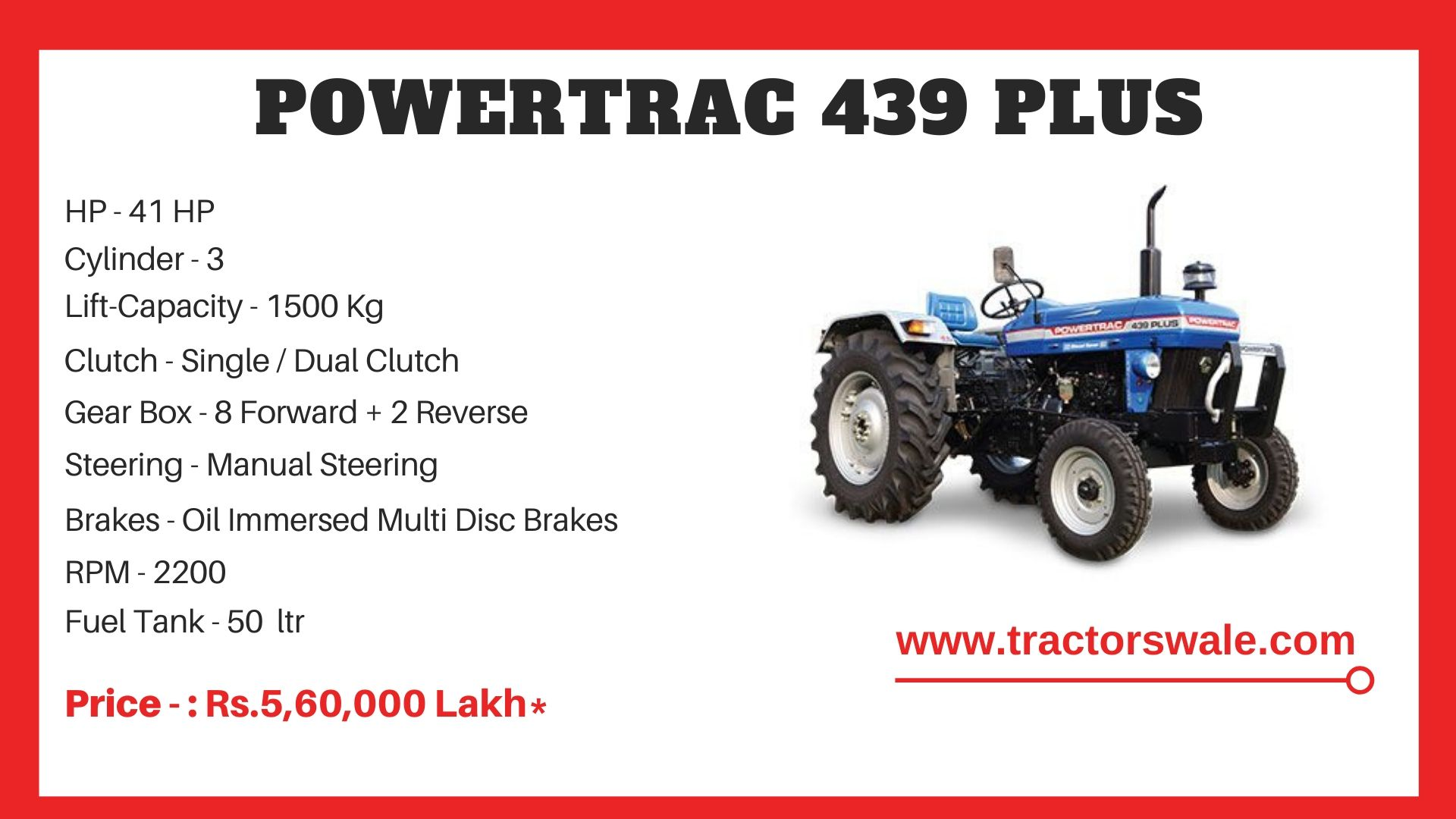 PowerTrac 439 Plus Tractor Price