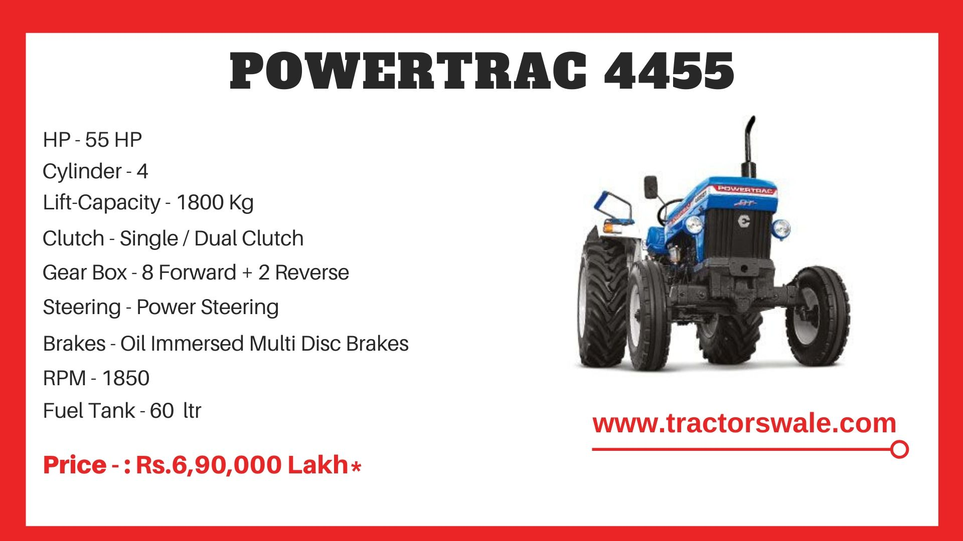 PowerTrac 4455 tractor price