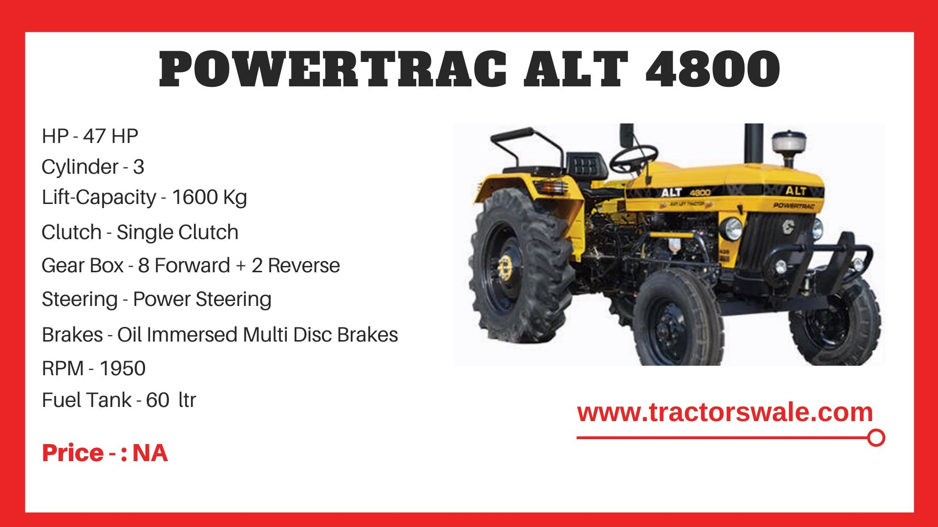 PowerTrac ALT 4800 tractor price