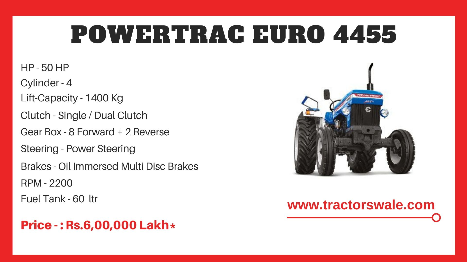 PowerTrac Euro 4455 tractor Price