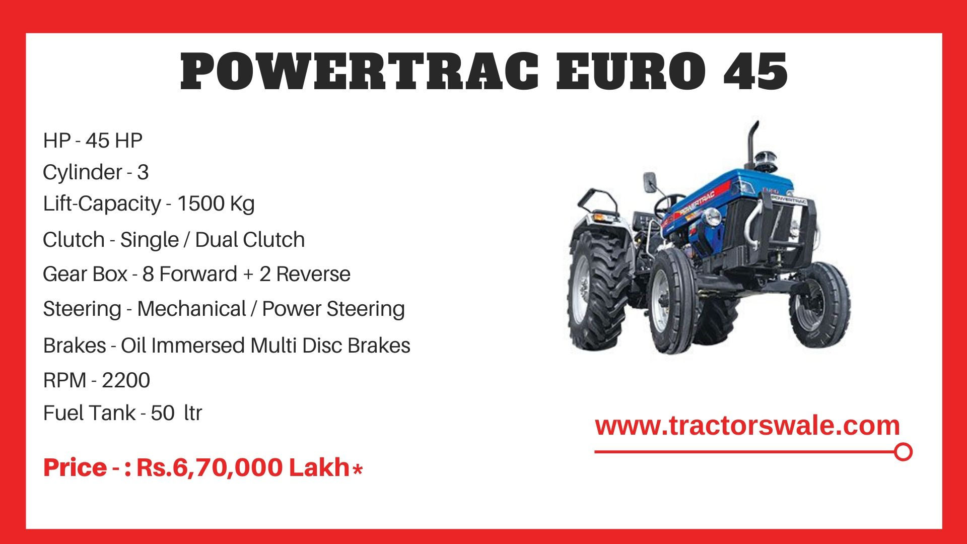 PowerTrac Euro 45 tractor price