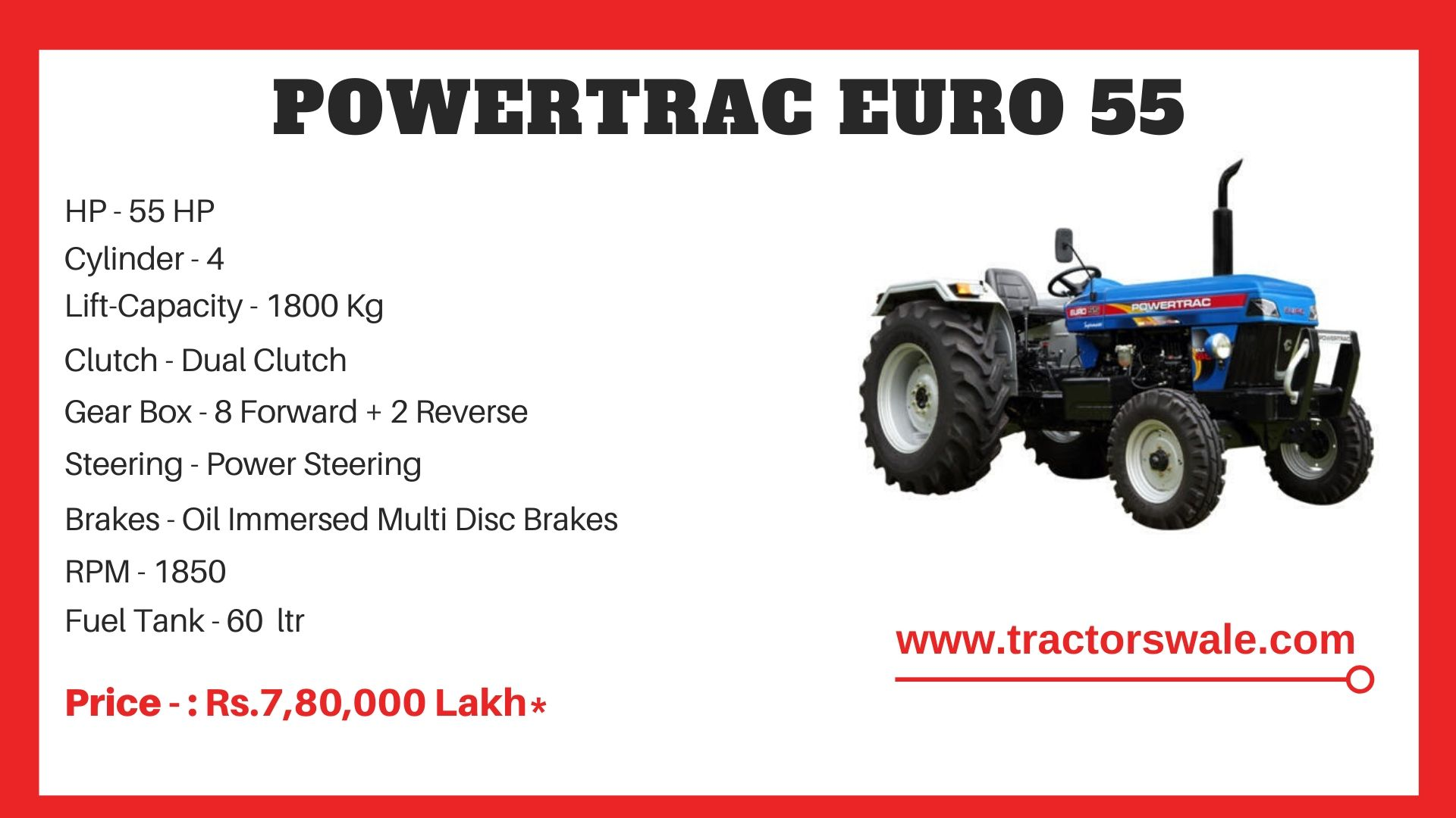 PowerTrac Euro 55 Tractor Price