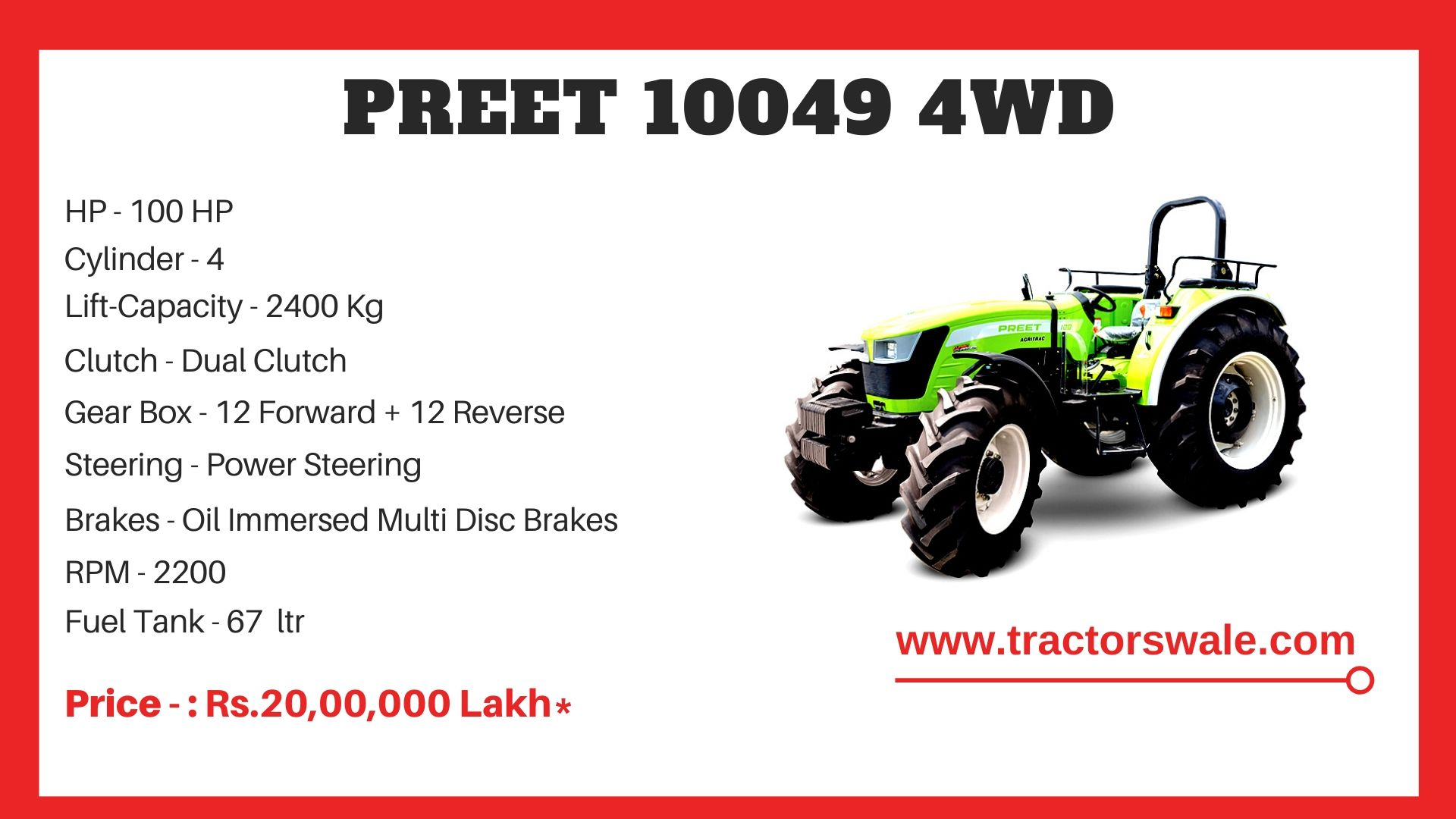 Preet 10049 4WD Tractor price