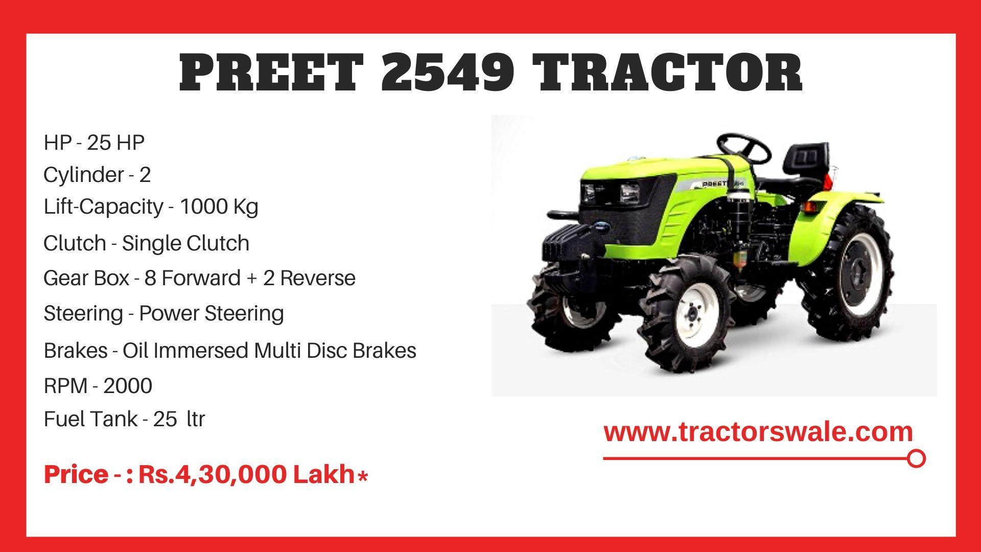 Preet 2549 tractor Price