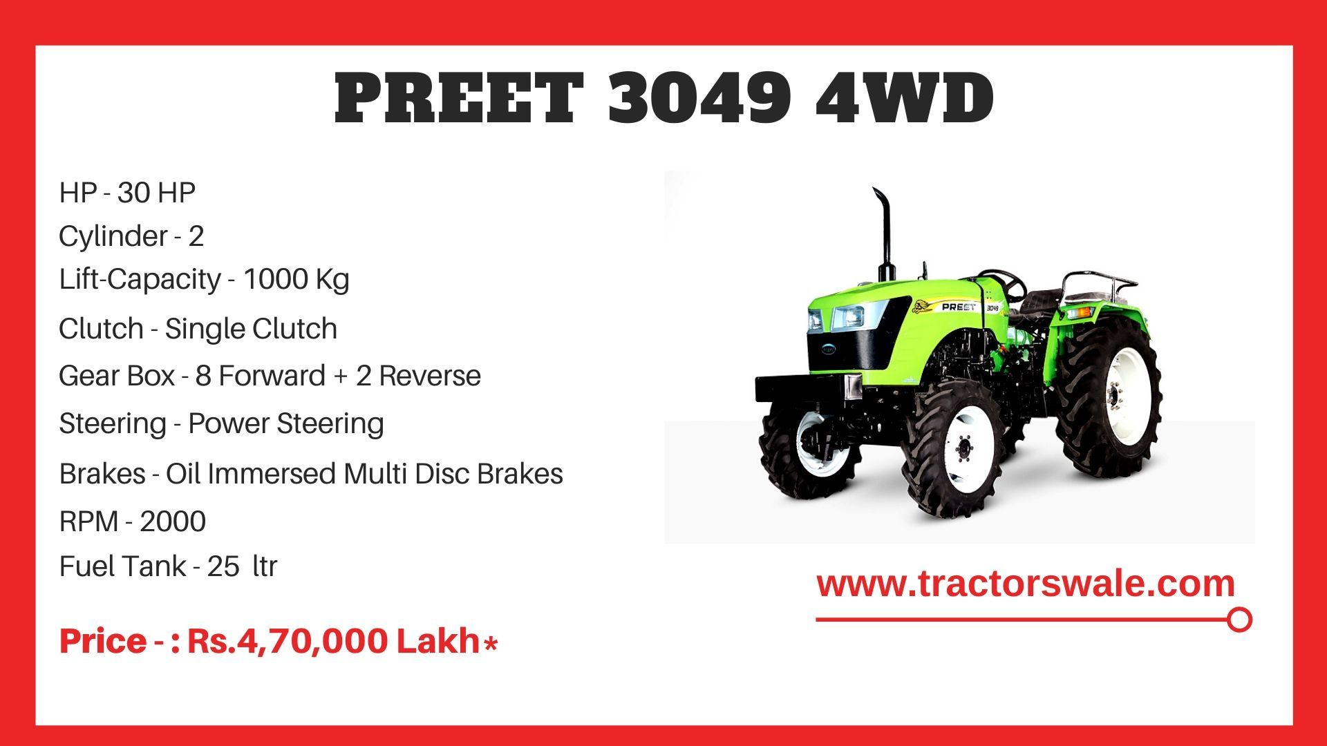 Preet 3049 4WD Tractor Price