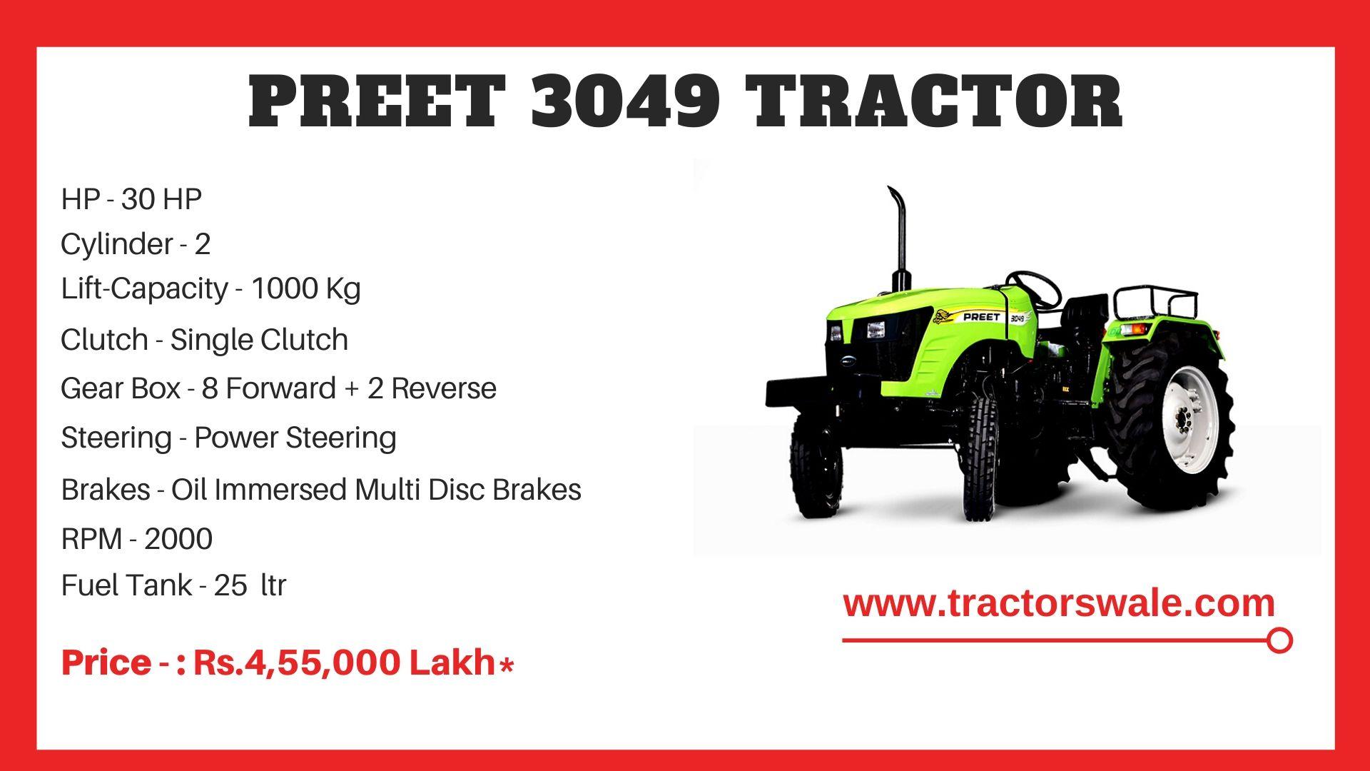 Preet 3049 tractor price