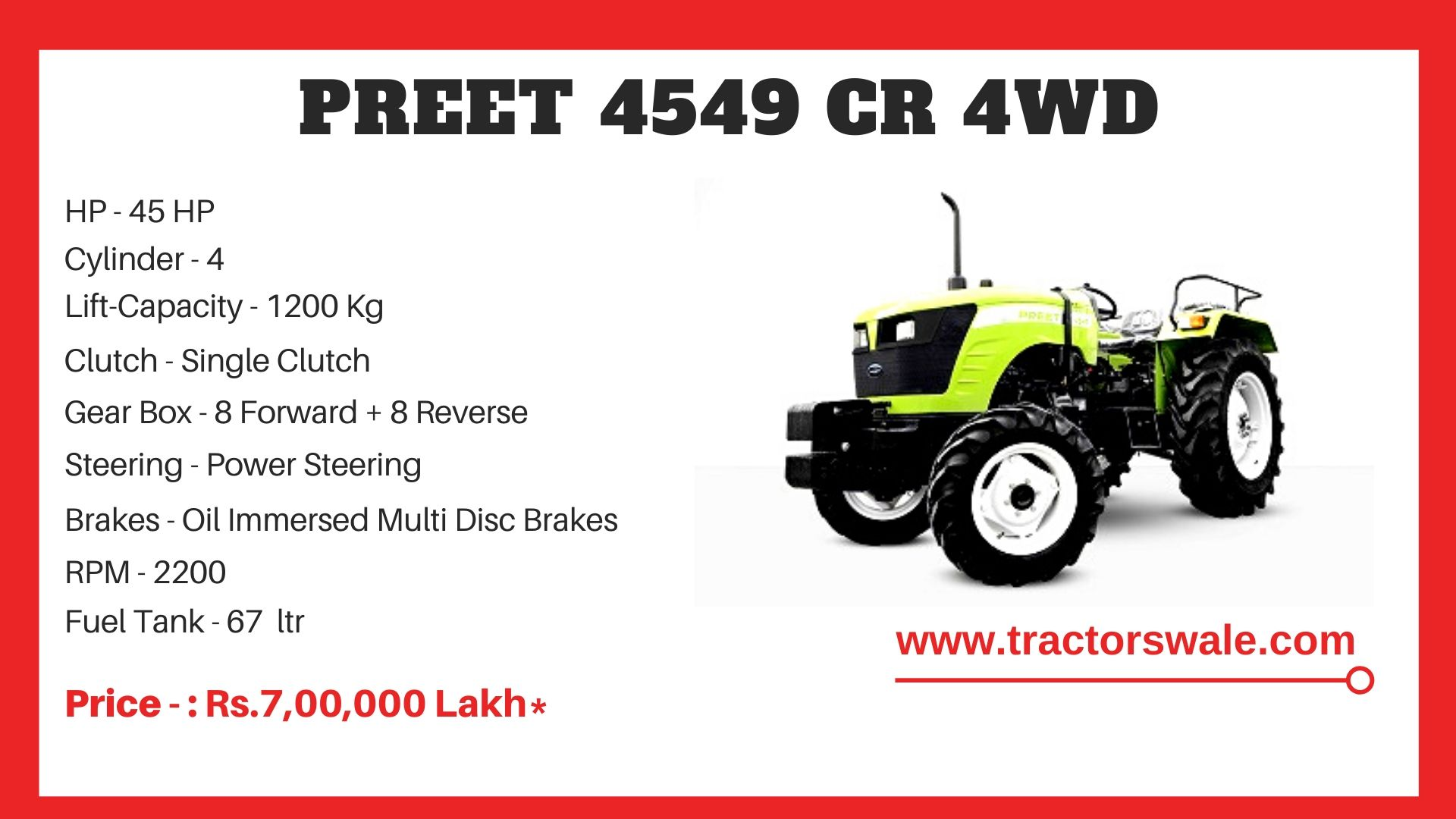 Preet 4549 CR 4WD tractor price