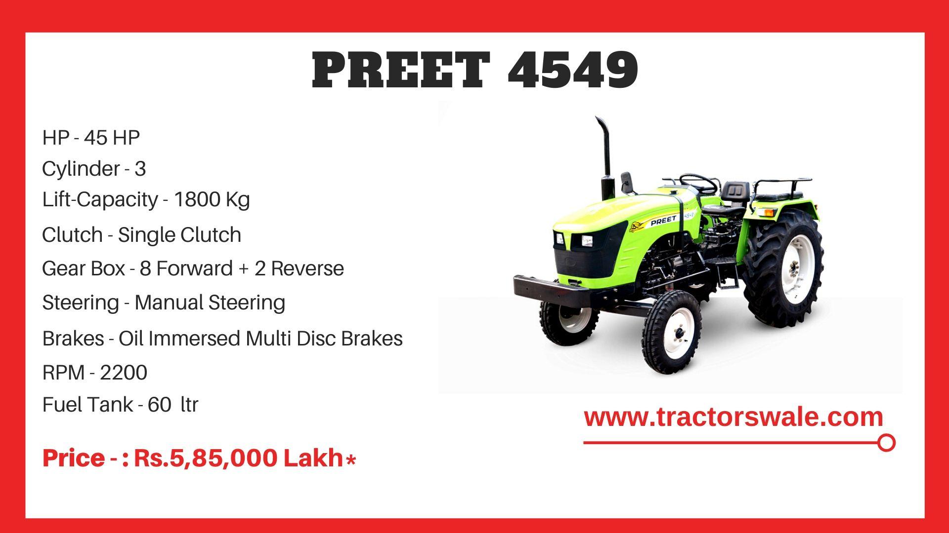 Preet 4549 tractor price
