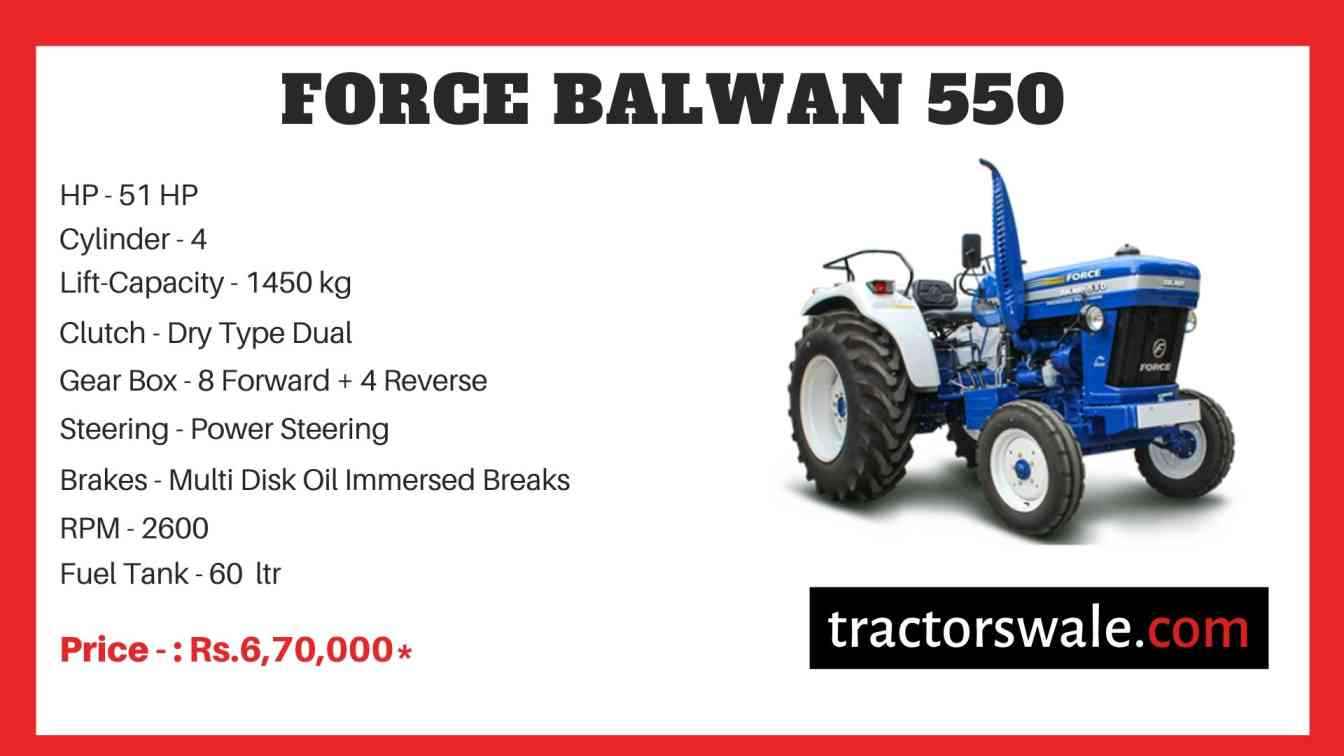 Force BALWAN 550 Tractor Specifications