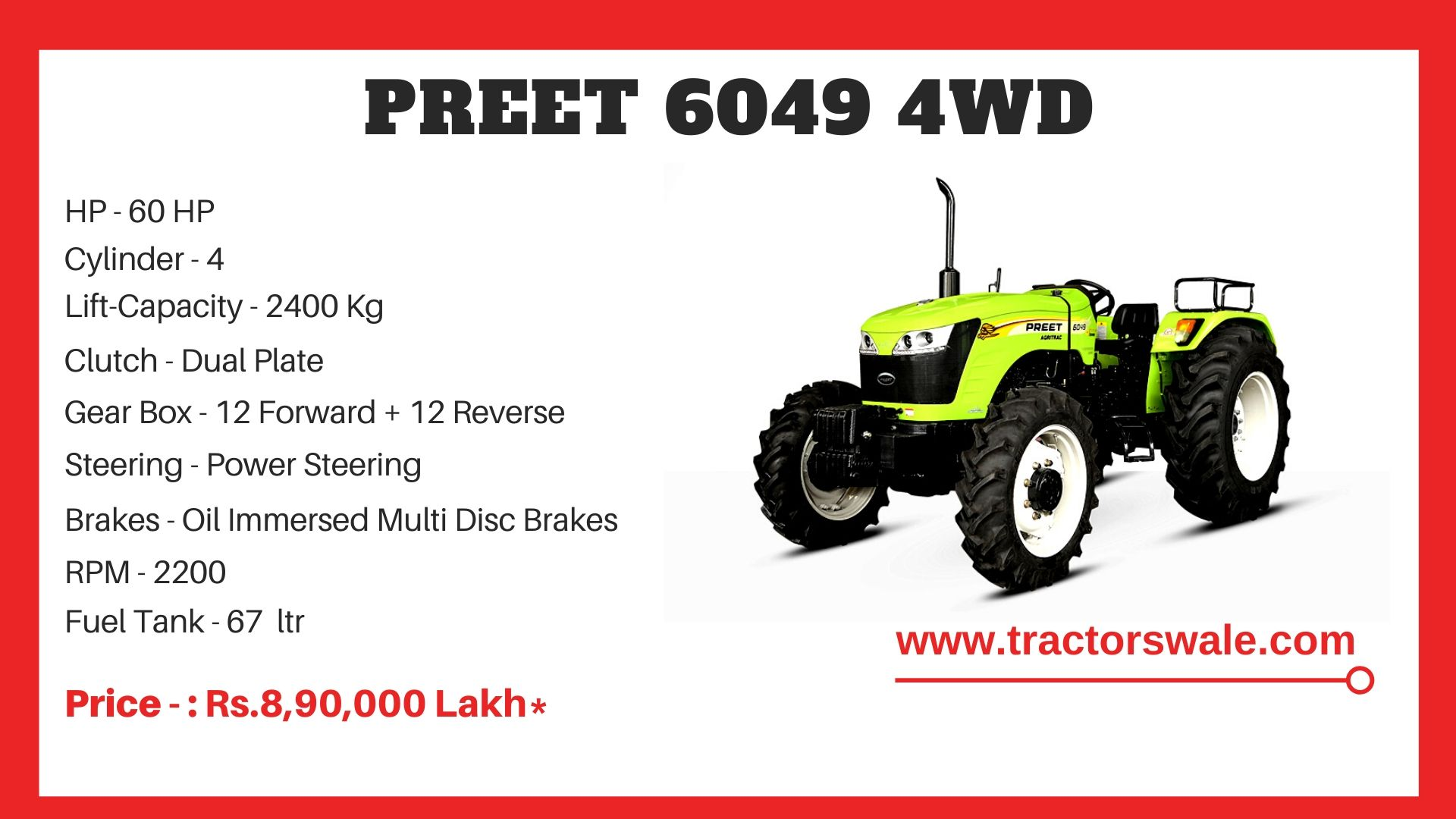 Preet 6049 4WD tractor price