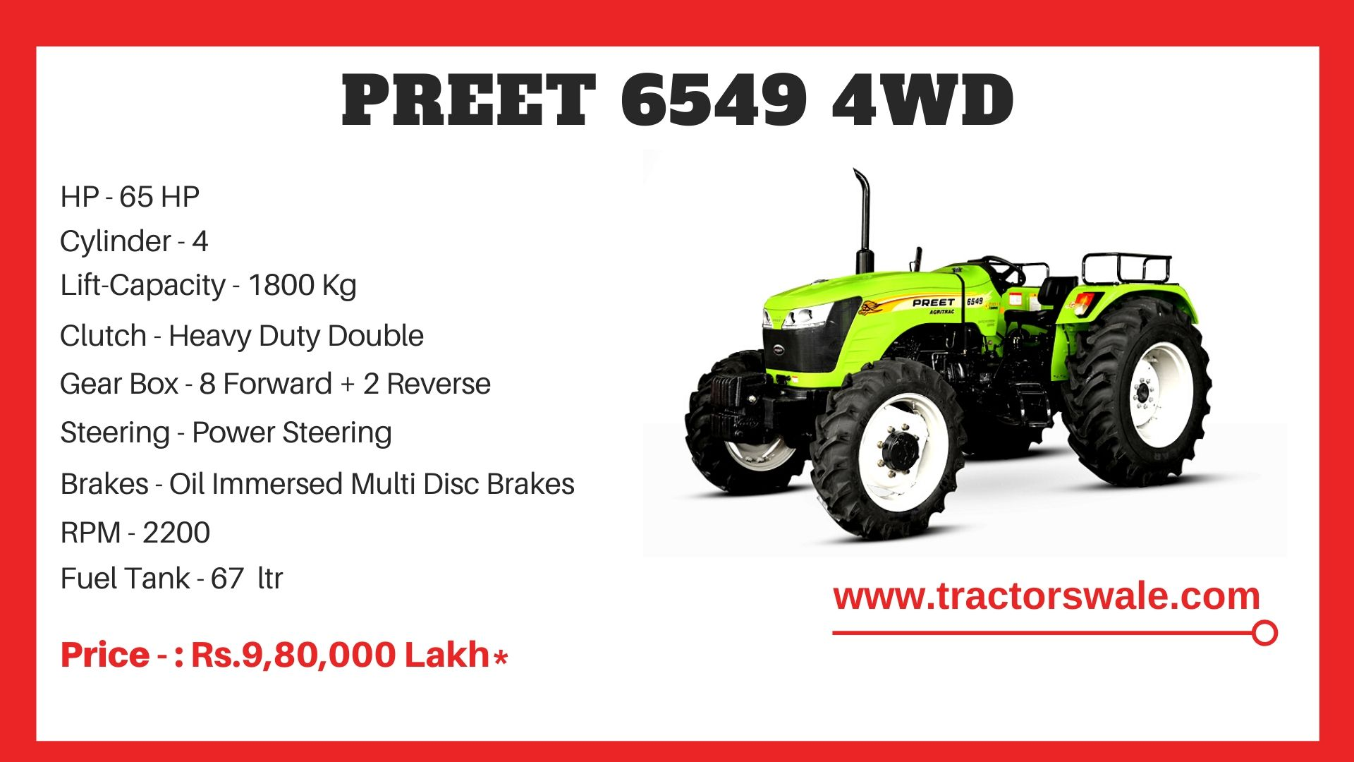 Preet 6549 4WD tractor price