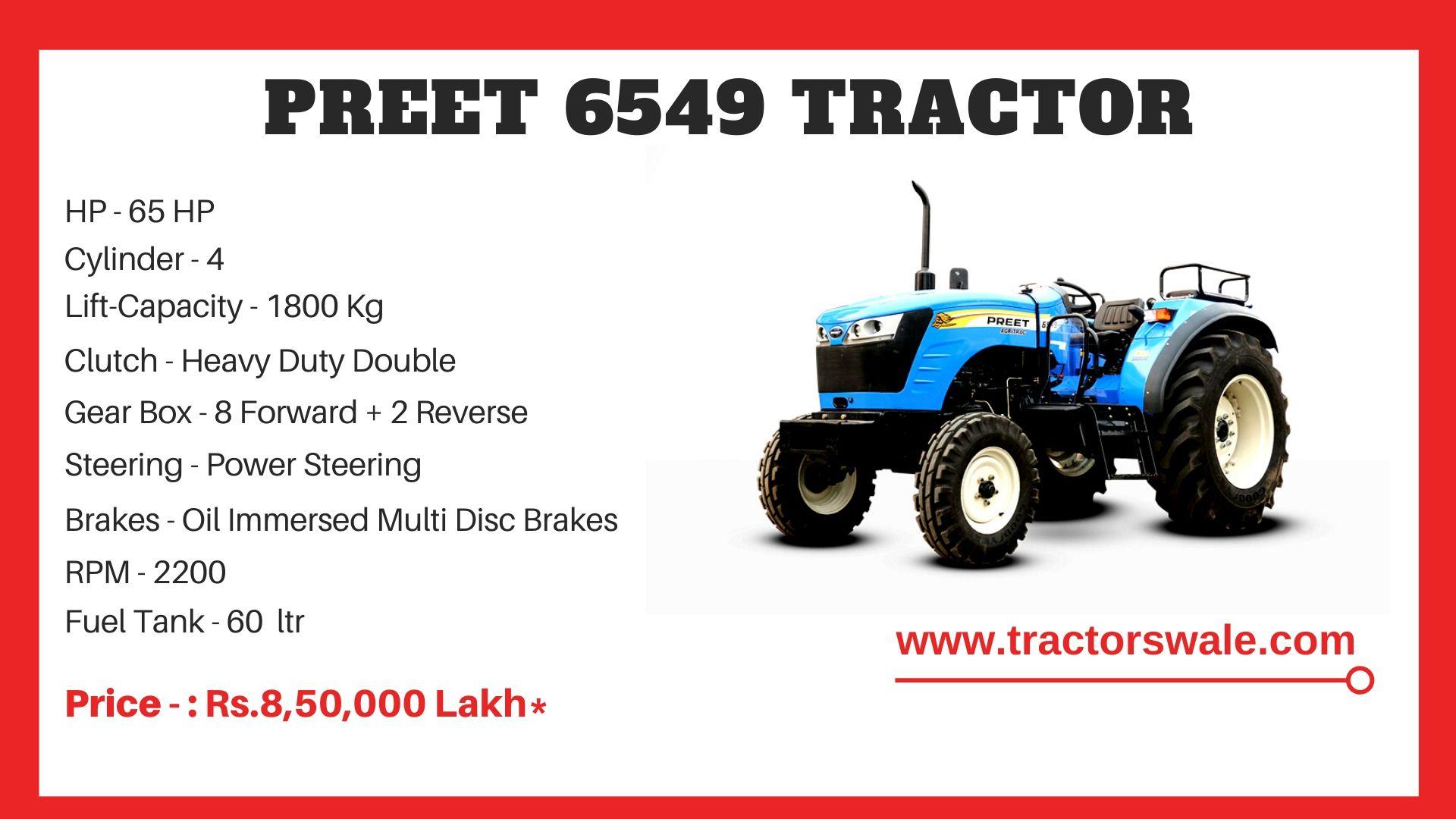 Preet 6549 tractor price