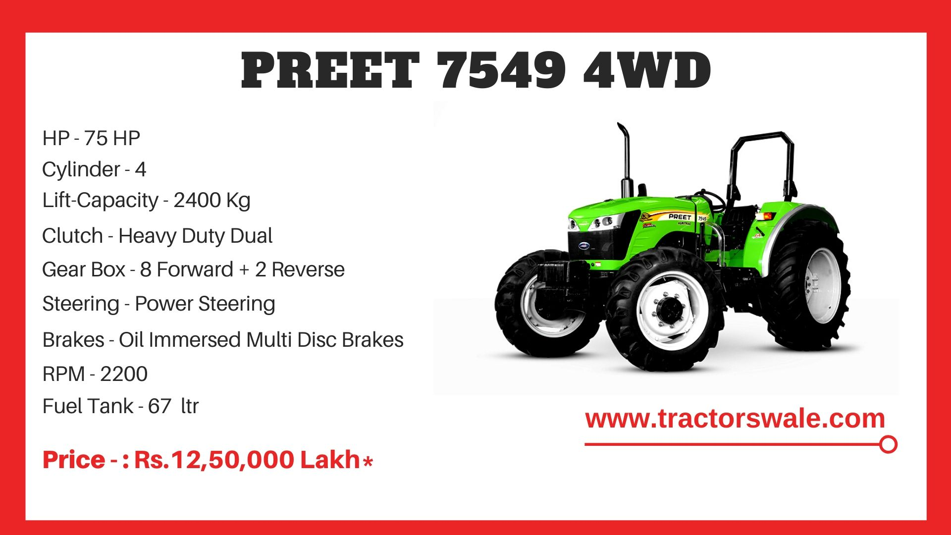 Preet 7549 4WD Tractor Price
