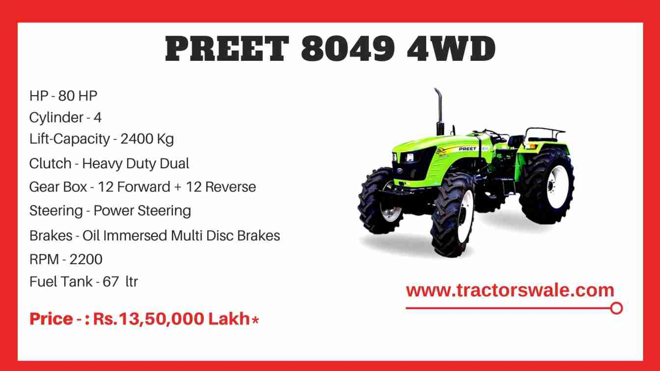 Preet 8049 4WD tractor Price