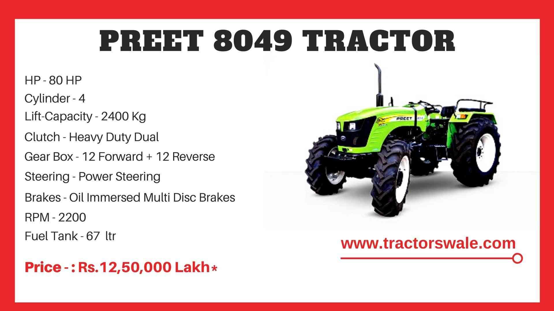 Preet 8049 tractor price
