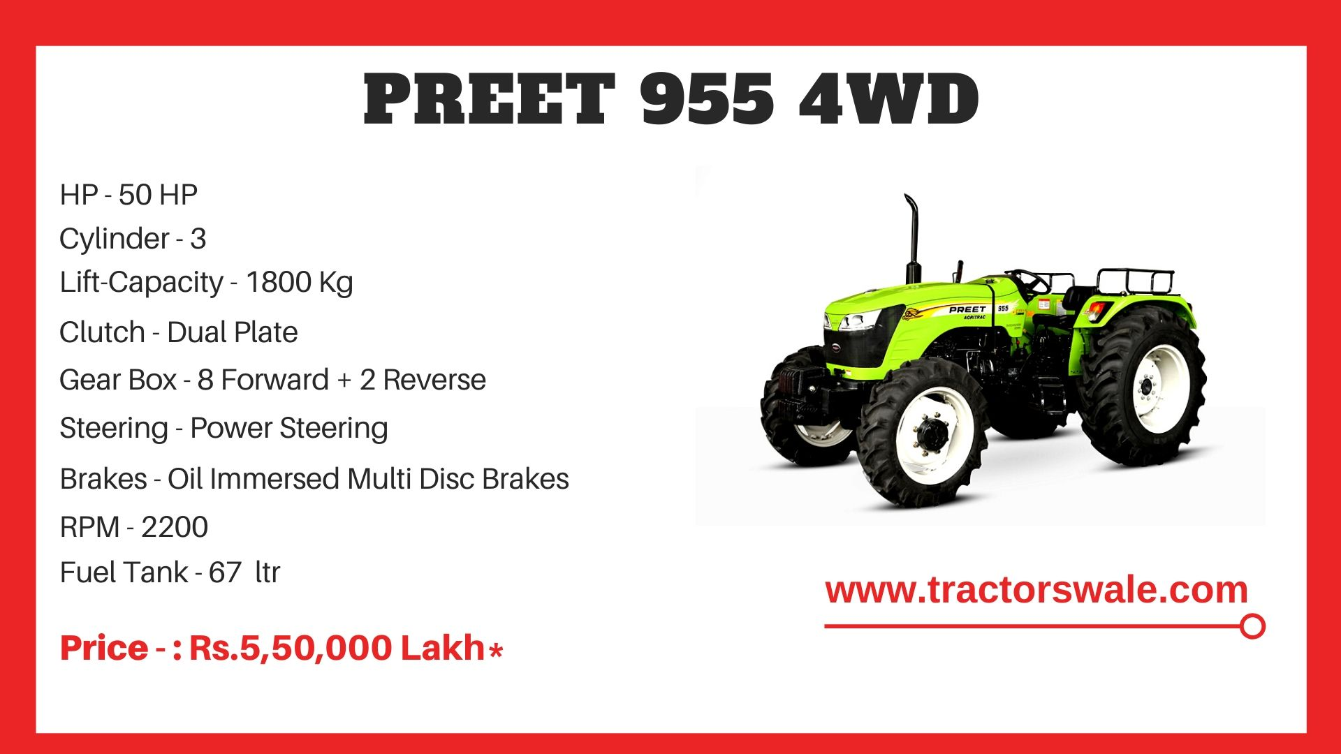 Preet 955 4WD Tractor Price