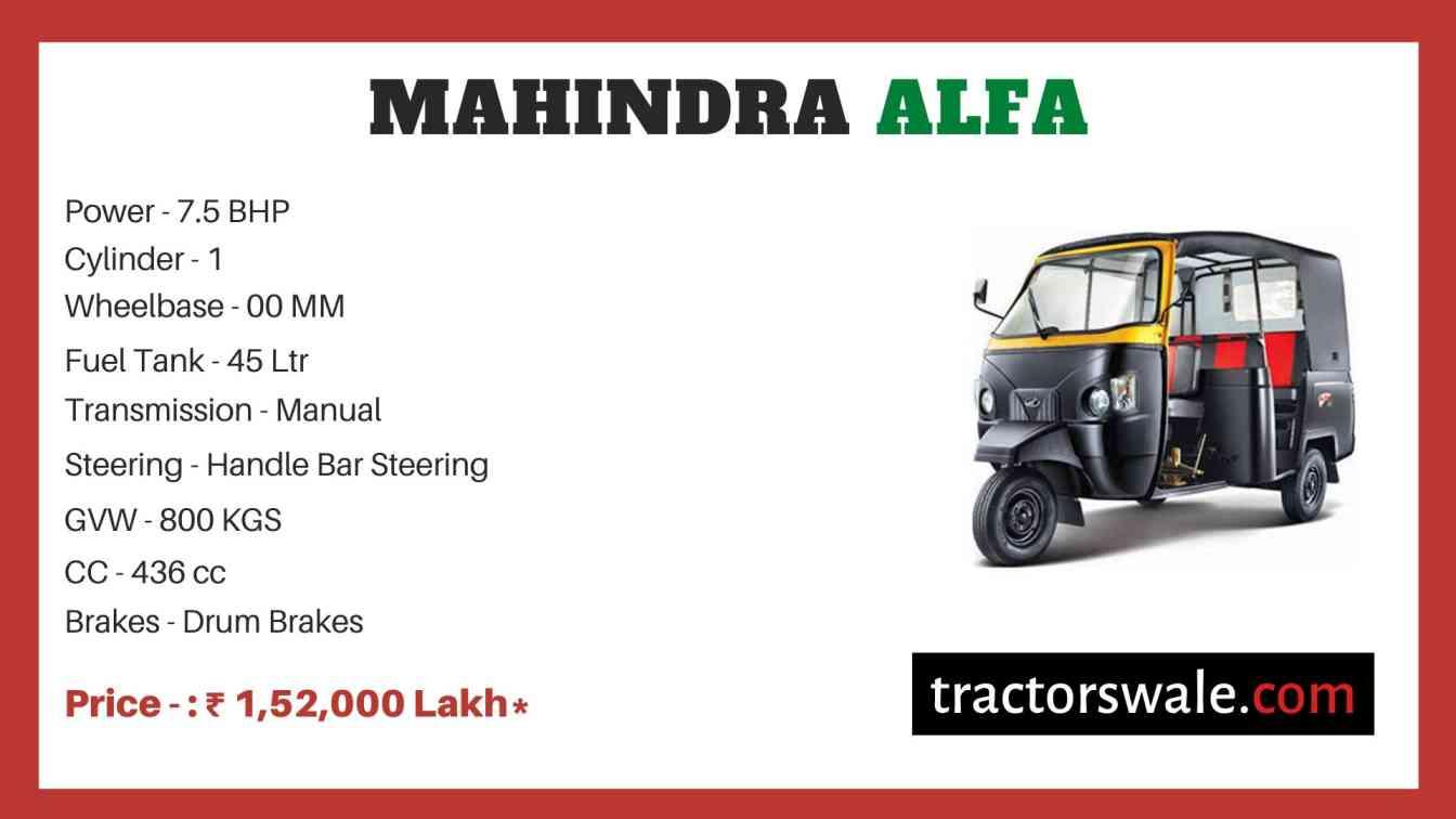 Mahindra Alfa Price