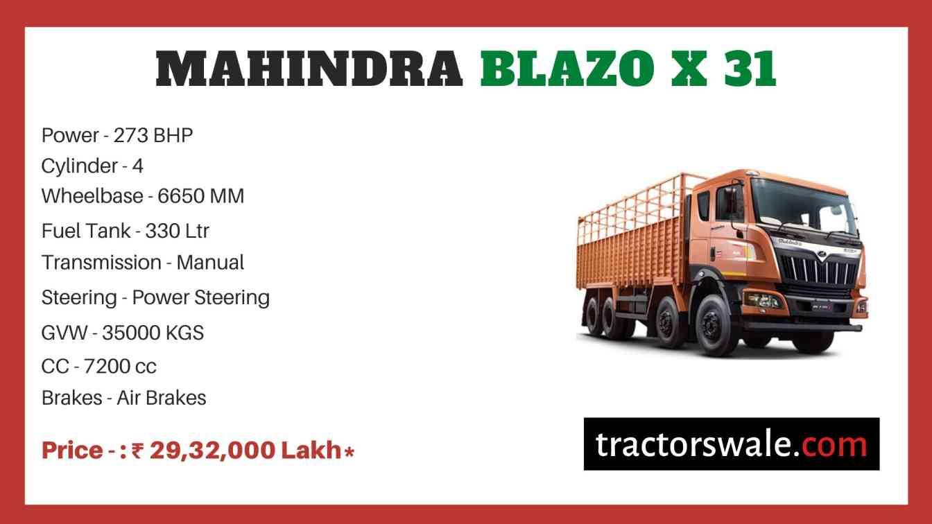 Mahindra Blazo X 31 Price