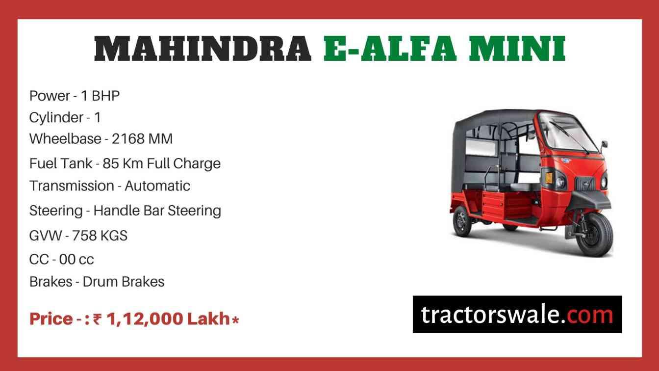 Mahindra E-Alfa Mini Price