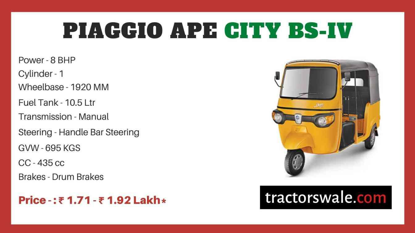 Piaggio Ape City BS-IV price