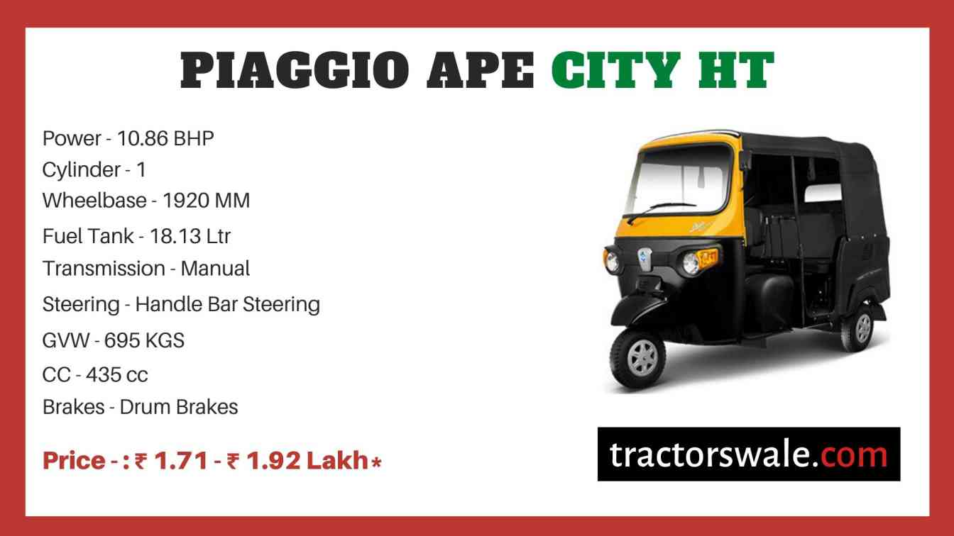 Piaggio Ape City HT price