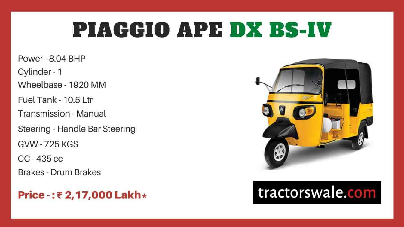 Piaggio Ape DX BS-IV price