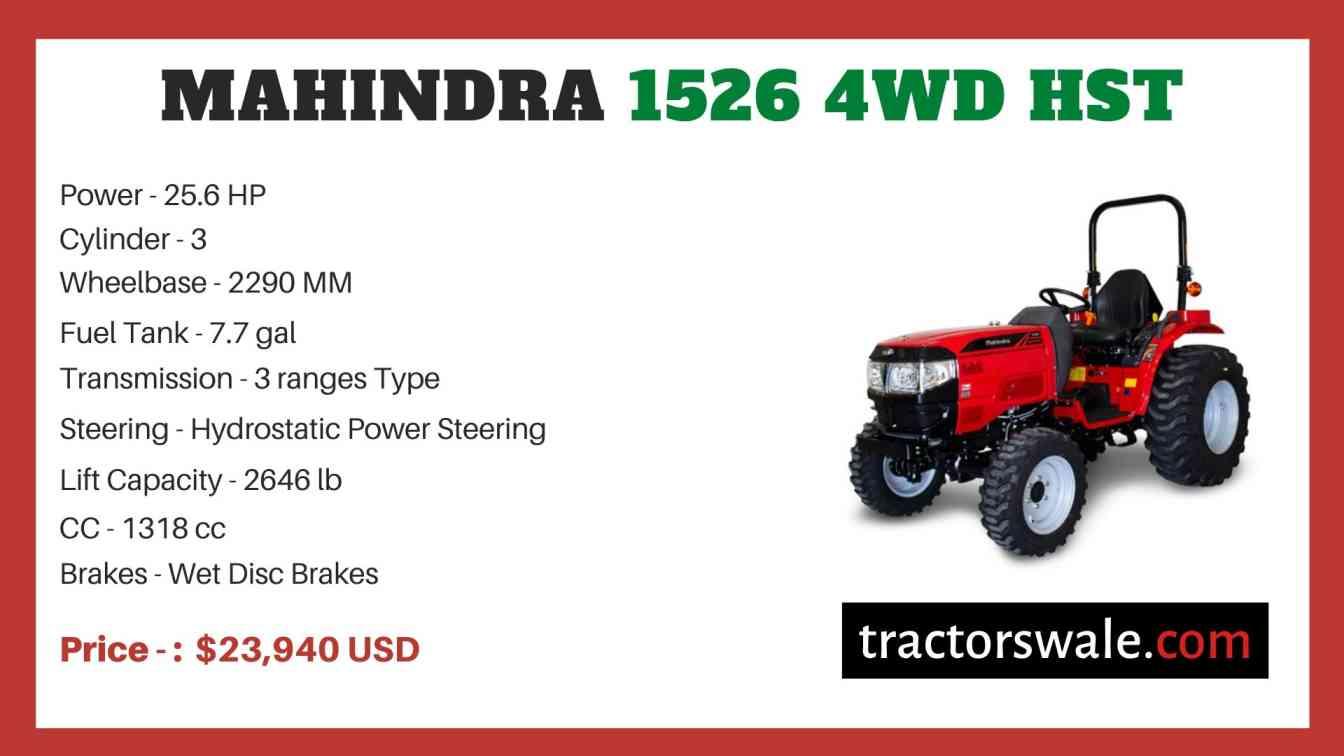 Mahindra 1526 4WD HST price