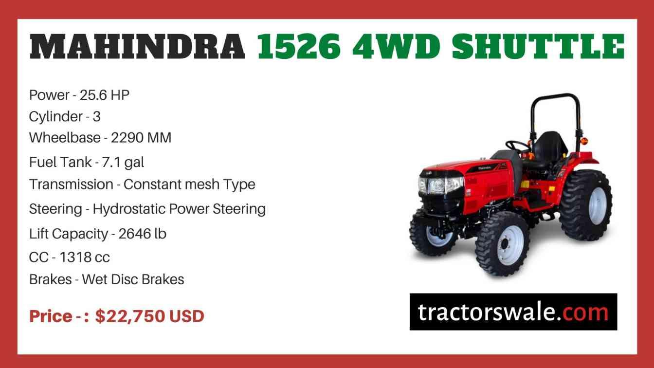 Mahindra 1526 4WD SHUTTLE price