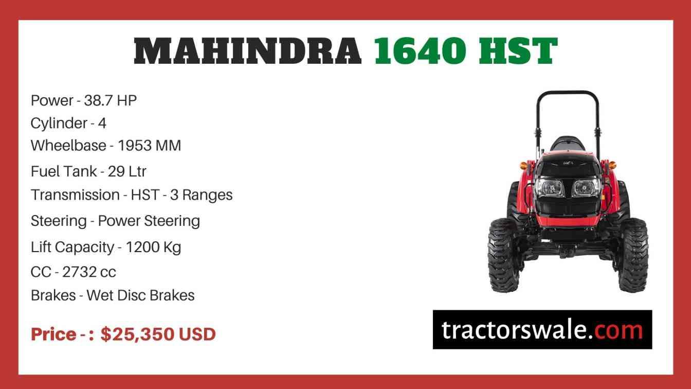 Mahindra 1640 HST price