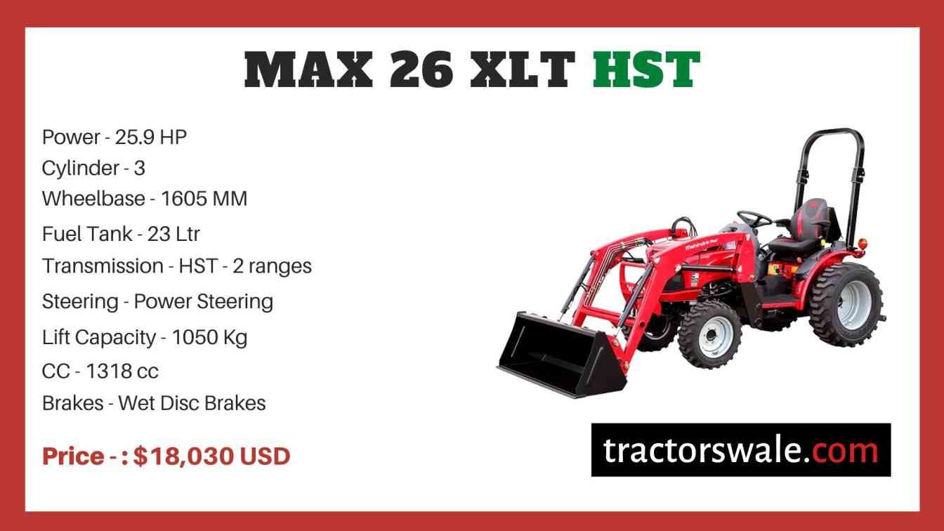 Mahindra Max 26 XLT HST price