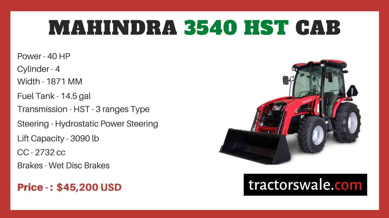 Mahindra 3540 HST CAB price