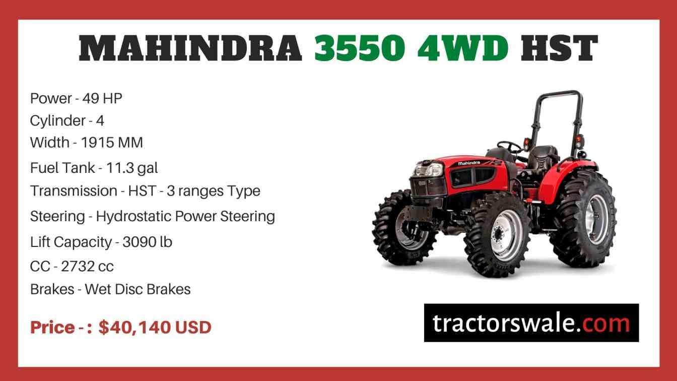 Mahindra 3550 4WD HST price