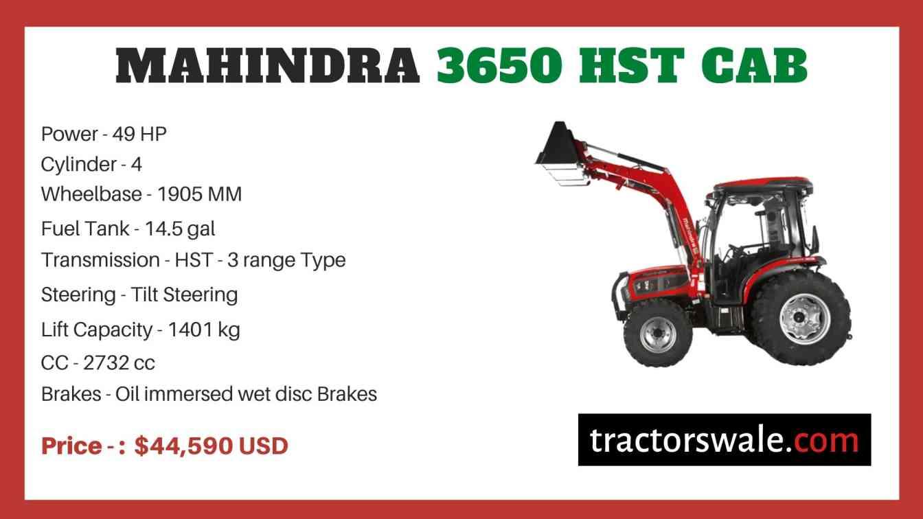 Mahindra 3650 HST CAB price