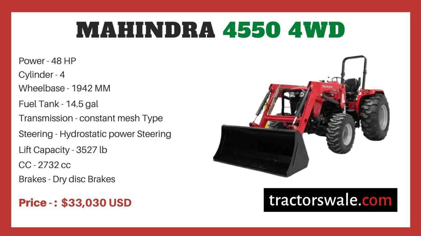 Mahindra 4550 4WD price