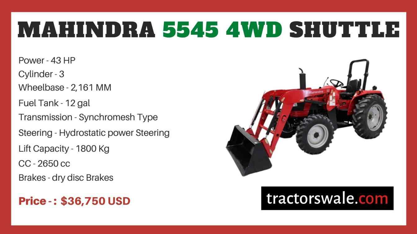 Mahindra 5545 4WD SHUTTLE price