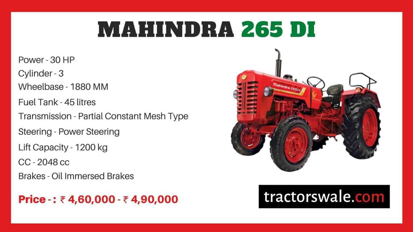 Mahindra 265 DI price